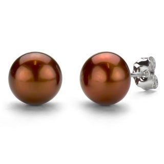 DaVonna Sterling Silver Freshwater Pearl Stud Earrings (9-10 mm) (Option: Brown/Champagne)