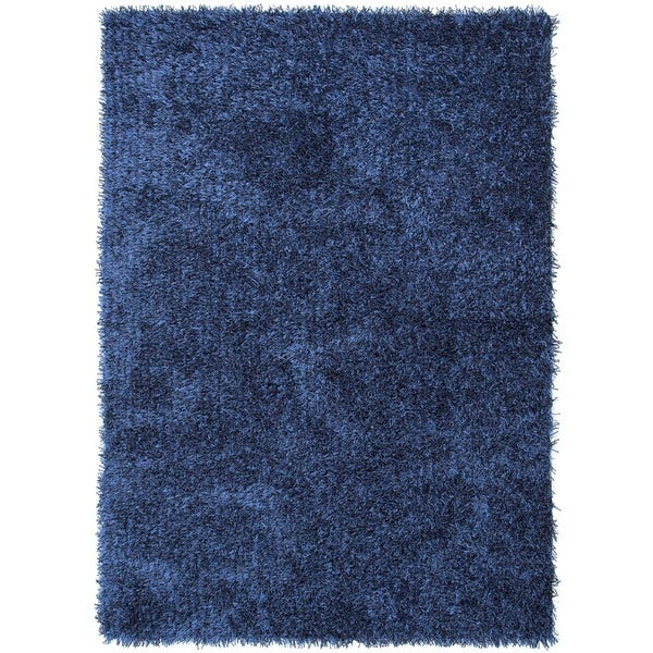 Ombre Blue Solid Shag Rug (5' x 7'6)