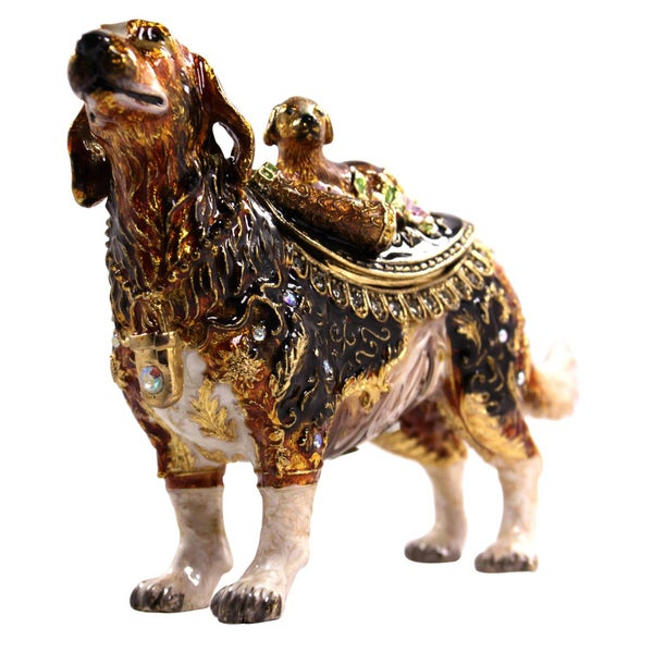 Cristiani Mother and Baby Dog Pewter Trinket Box