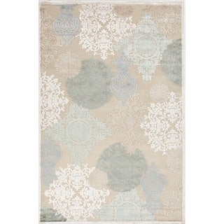 Transitional Floral Blue Viscose/ Chenille Rug (2' x 3')