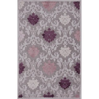 Transitional Pink/ Purple Viscose/ Chenille Rug (5' x 7'6)