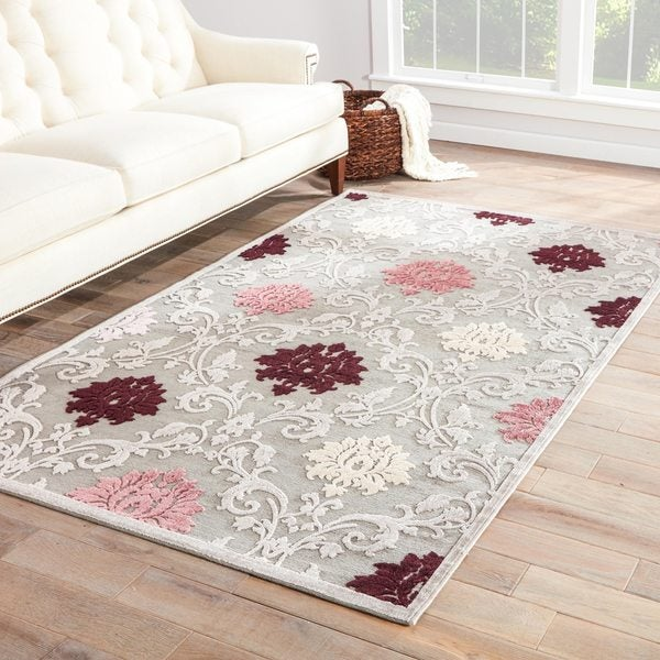 Versailles Damask Purple/ Gray Area Rug (2' X 3')
