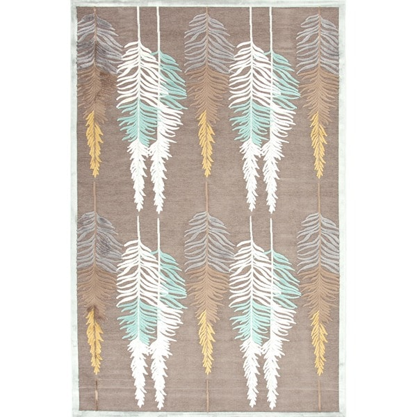 Transitional Floral Beige/Brown Viscose/Chenille Rug (9' x 12')