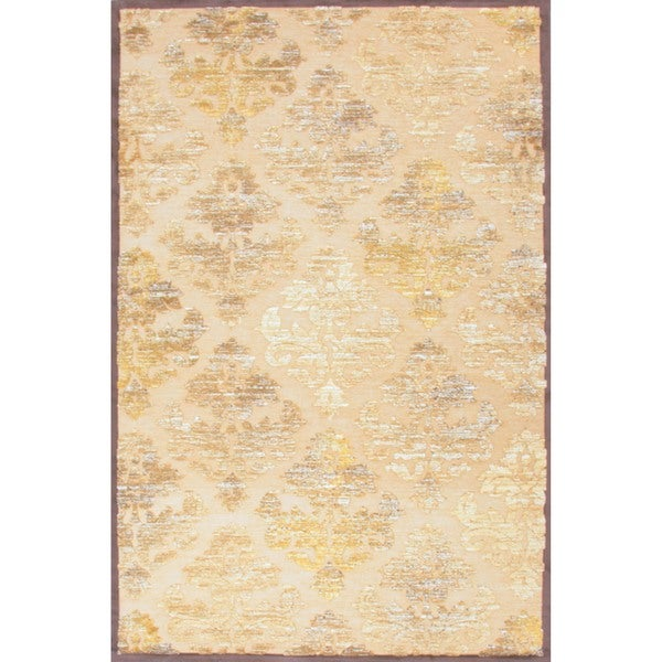 Transitional Beige/ Brown Viscose/ Chenille Rug (2' x 3')