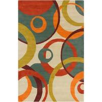 Allie Handmade Geometric Tan Wool Rug - 5' x 7'6