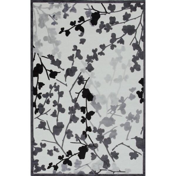 Transitional Gray/ Black Viscose/ Chenille Rug (7'6 x 9'6)