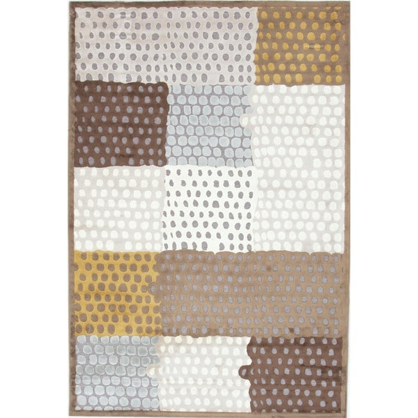 Modern Geometric Gray Viscose/Chenille Rug (9' x 12')