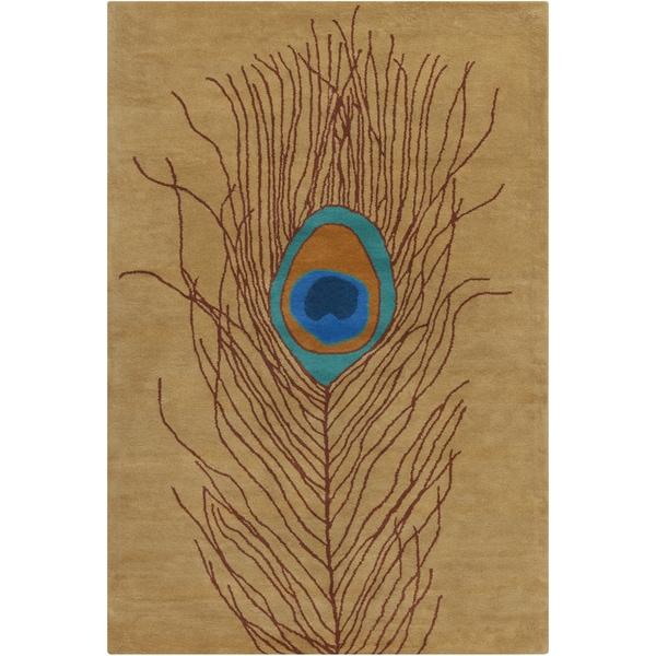 Allie Handmade Peacock Feather Wool Rug (5' x 7'6)