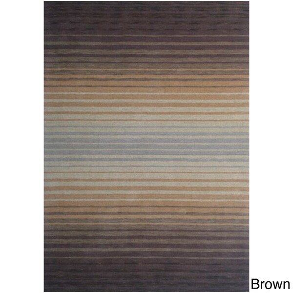 'Cuba' Hand-loomed Striped Wool Rug