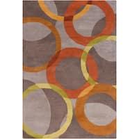 Handmade Allie Grey Geometric Wool Rug - 5' x 7'6
