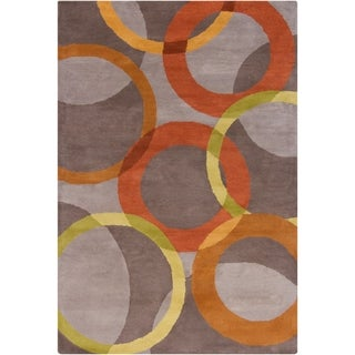 Handmade Allie Grey Geometric Wool Rug (5' x 7'6)