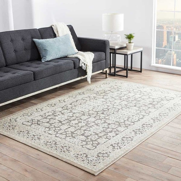 Bristol Damask Gray White Area Rug 9 X 12 Free