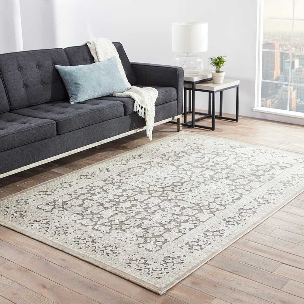 Juniper Home Bristol Damask Gray/ White Area Rug (5' X 7'...