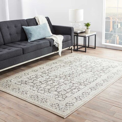 Copper Grove Uinta Damask Grey/ White area Rug - 5'x7'6""
