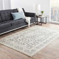 Copper Grove Uinta Damask Grey/ White area Rug - 5' x 7'6""