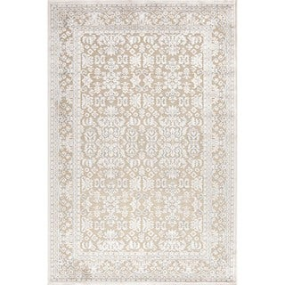 Transitional Ivory Viscose/ Chenille Rug (5' x 7'6)