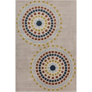 "Allie Handmade Geometric Gray/Multicolored Wool Rug (5' x 7' 6"")"