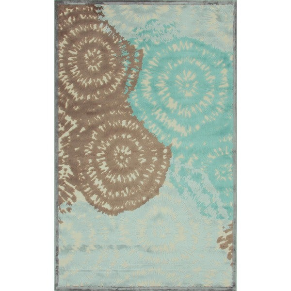 Modern Abstract Viscose/ Chenille Rug (5' x 7'6)