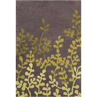 Allie Handmade Floral Brown/Green Wool Rug (5' x 7'6)