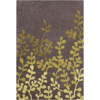 Allie Handmade Floral Brown/Green Wool Rug - 5' x 7'6