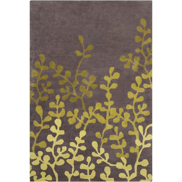 Allie Handmade Floral Brown/Green Wool Rug - 5' x 7'6