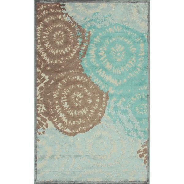 Modern Abstract Cream Viscose/Chenille Rug (2' x 3')