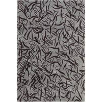 Allie Handmade Abstract Grey Contemporary Wool Rug - 5' x 7'6
