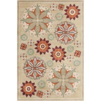 Allie Handmade Floral Tan Wool Rug - 5' x 7'6