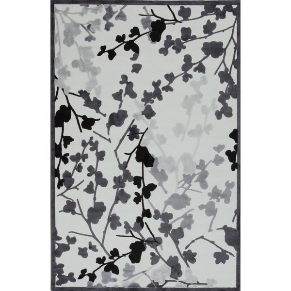 Transitional Gray Viscose/ Chenille Rug (5' x 7'6)
