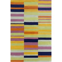 Allie Handmade Multicolor Geometric Wool Rug - Multi - 5' x 7'6