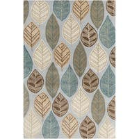 Allie Handmade Leafs Design Wool Rug - 5' x 7'6