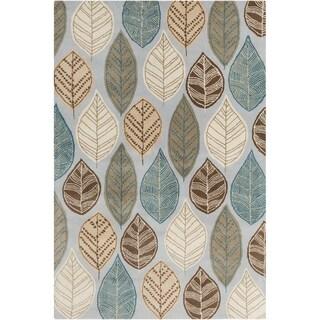 Allie Handmade Leafs Design Wool Rug - 5' x 7'6