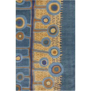 "Allie Handmade Abstract Blue/ Gold Wool Rug - 5' x 7'6"""
