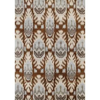 Alliyah Handmade IKAT Brown Sugar New Zealand Blend Wool / Viscose Silk Pile Rug (9' x 12')