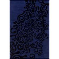 Allie Handmade Abstract Blue Wool Rug - 5' x 7'6