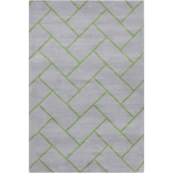 Allie Handmade Geometric Grey/Green Wool Rug - 5' x 7'6
