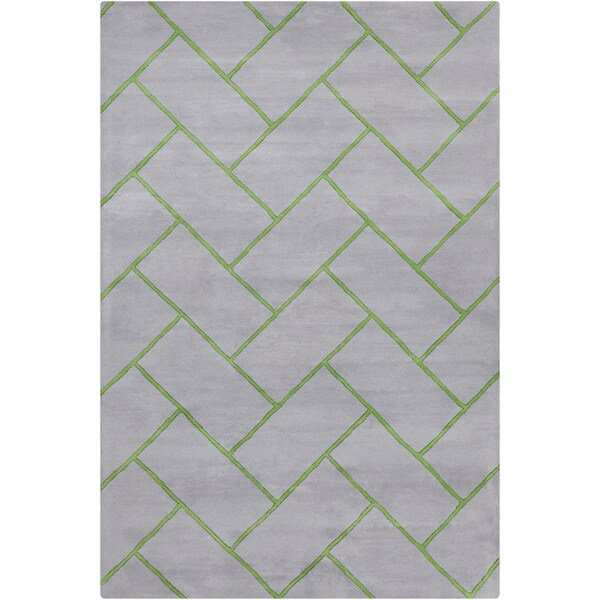 Allie Handmade Geometric Grey/Green Wool Rug (5' x 7'6)