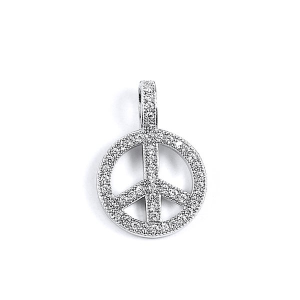 Sterling Silver Cubic Zirconia Peace Symbol Pendant