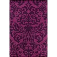 Allie Handmade Floral Purple Wool Rug - 5' x 7'6