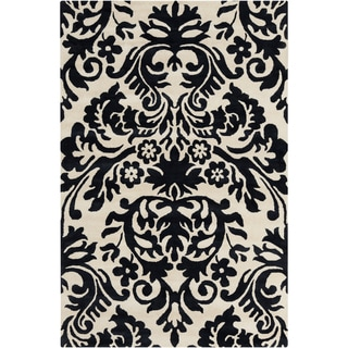 Allie Handmade Floral Cream/Black Wool Rug (5' x 7'6)