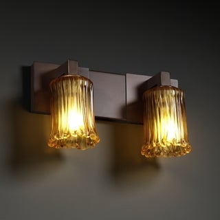Justice Design Group 2-light Rippled Rim Dark Bronze with Amber Glass Vanity Fixture