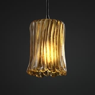 Justice Design Group 1-light Rippled Rim Dark Bronze with Amber Glass Pendant