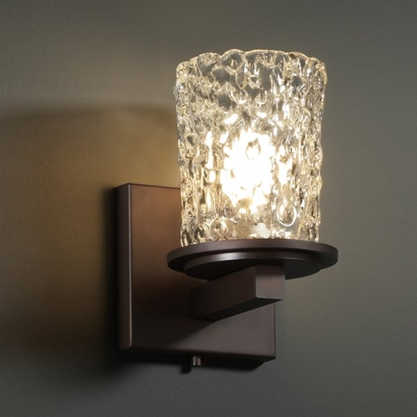 Justice Design Group 1-light Rippled Clear Glass and Dark Bronze Wall Sconce - Free Shipping ...