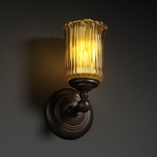 Justice Design Group 1-light Rippled Rim Dark Bronze with Amber Glass Wall Sconce