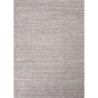 """Hand-Loomed Solid Gray 100 Percent Wool Runner (2'6"""" x 8')"""