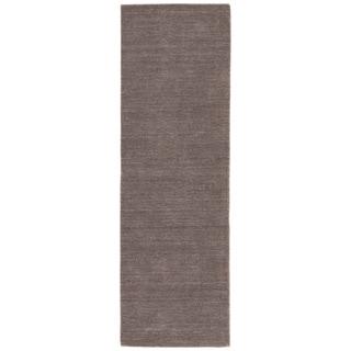 Hand-loomed Solid Gray Wool Runner (2'6 x 8')