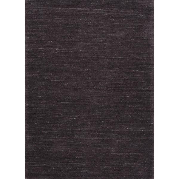 "Hand-Loomed Solid Blackberry/Gray Wool Runner (2'6"" x 8')"