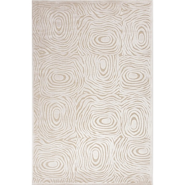 "Modern Abstract Cream Viscose/Chenille Rug (5' x 7'6"")"