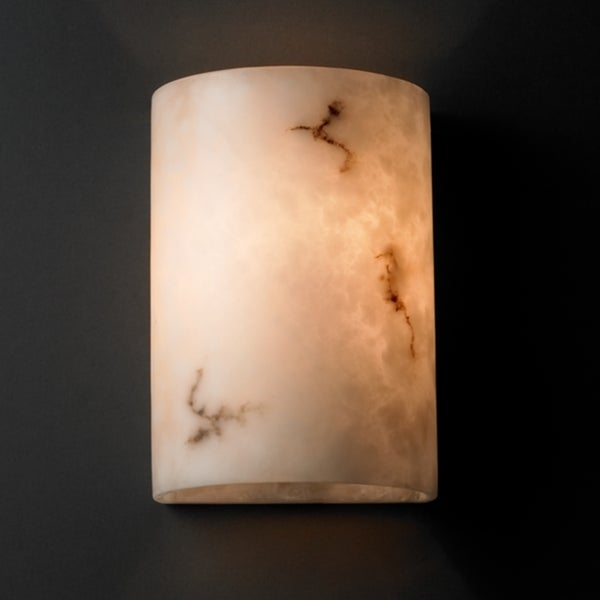 Justice Design Group LumenAria 2-light (No Metal) Wall Sconce, Small Cylinder Faux Alabaster Shade
