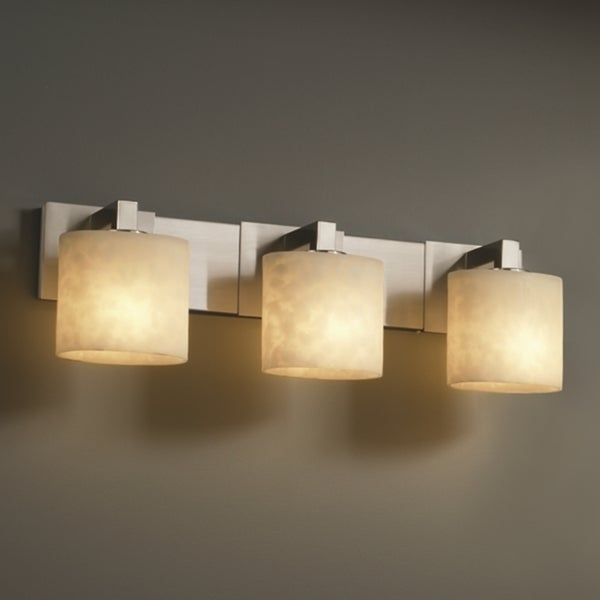 Shop justice design group clouds modular 3 light brushed - 8 light bathroom fixture brushed nickel ...
